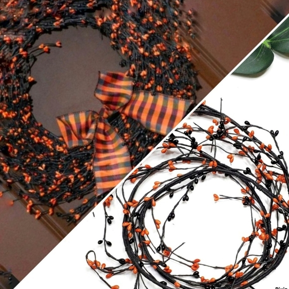 5' Beaded Halloween Wired Garland Bendable Fall Grapevine Orange Black Autumn